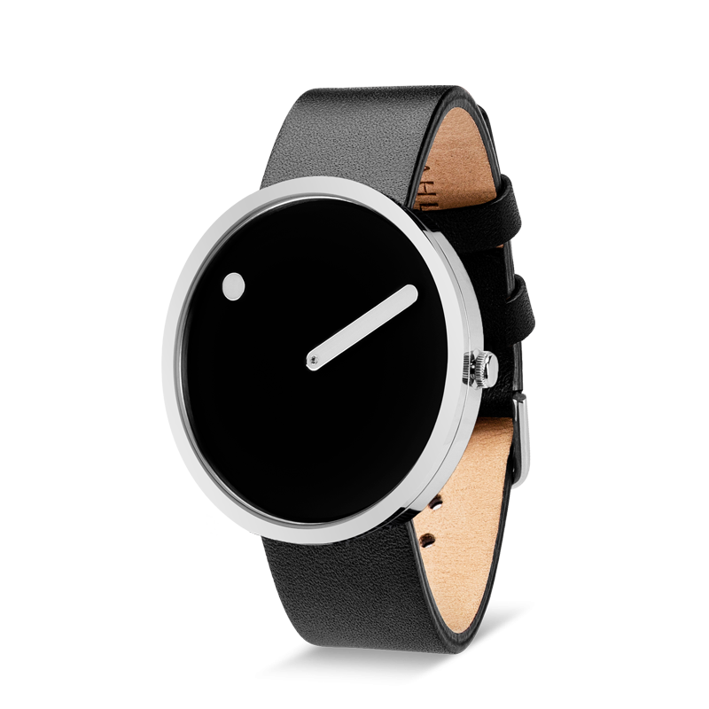 PICTO armbåndsur Ø40 i sort med læderirem