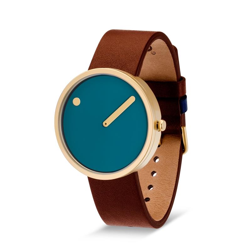 Picto armbåndsur Ø40 blå skive med læderrem