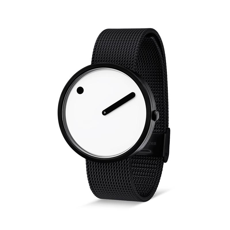 PICTO armbåndsur Ø40 i hvid med sort meshlænke