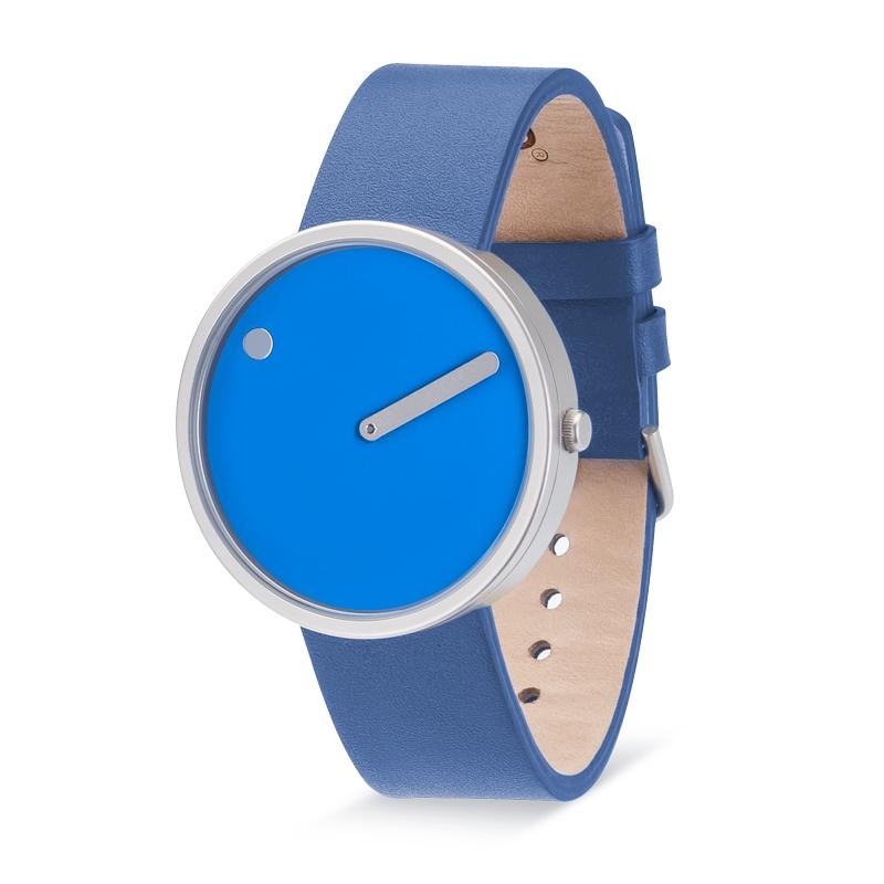 PICTO armbåndsur Ø40 i blå med læderrem