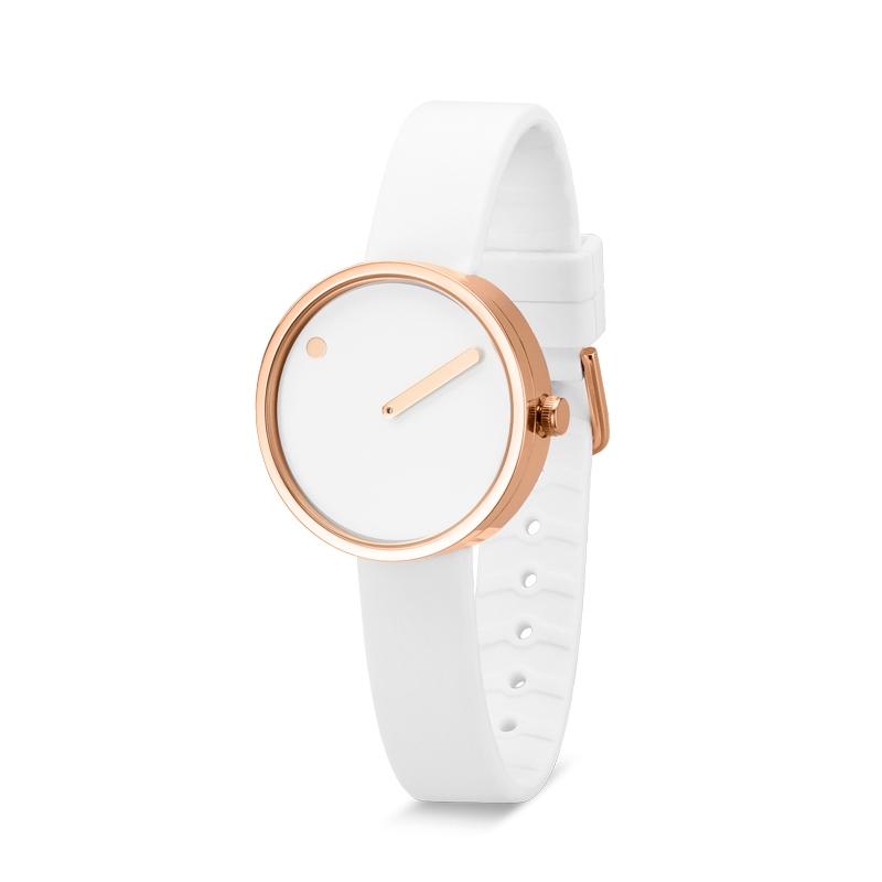 PICTO armbåndsur Ø30 i hvid med gummirem