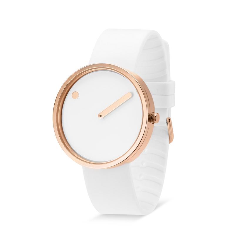 PICTO armbåndsur Ø40 i hvid med gummirem