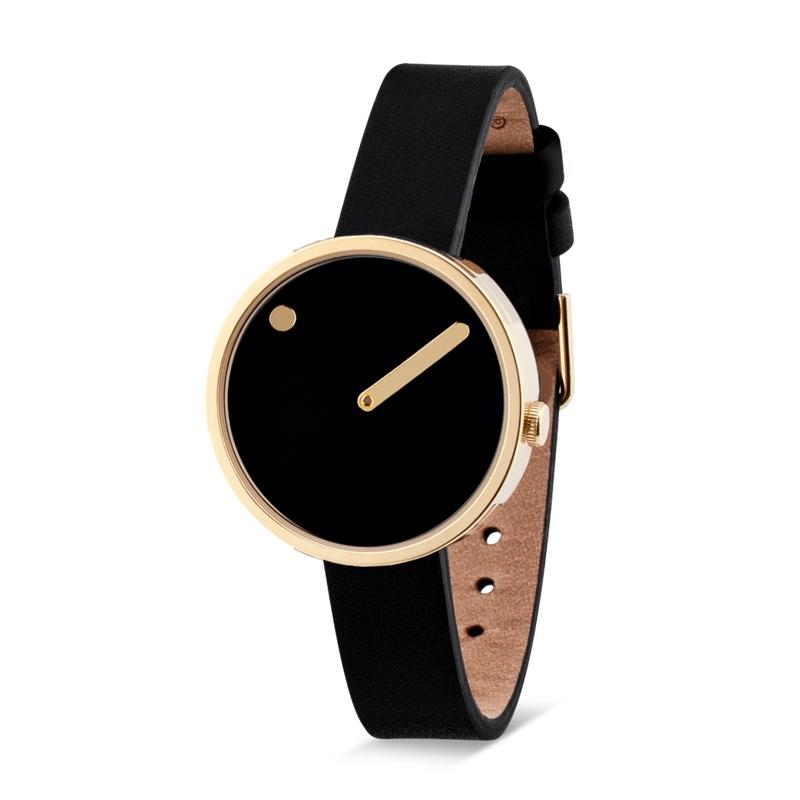 PICTO armbåndsur Ø30 i sort med PVD forgyldt kasse og sort læderrem