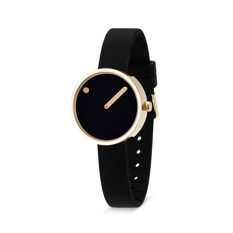PICTO armbåndsur Ø30 i sort med gummirem