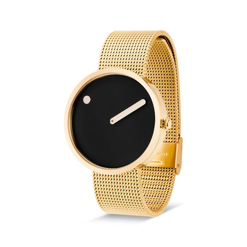 PICTO armbåndsur Ø40 i sort med gylden urkasse og meshlænke