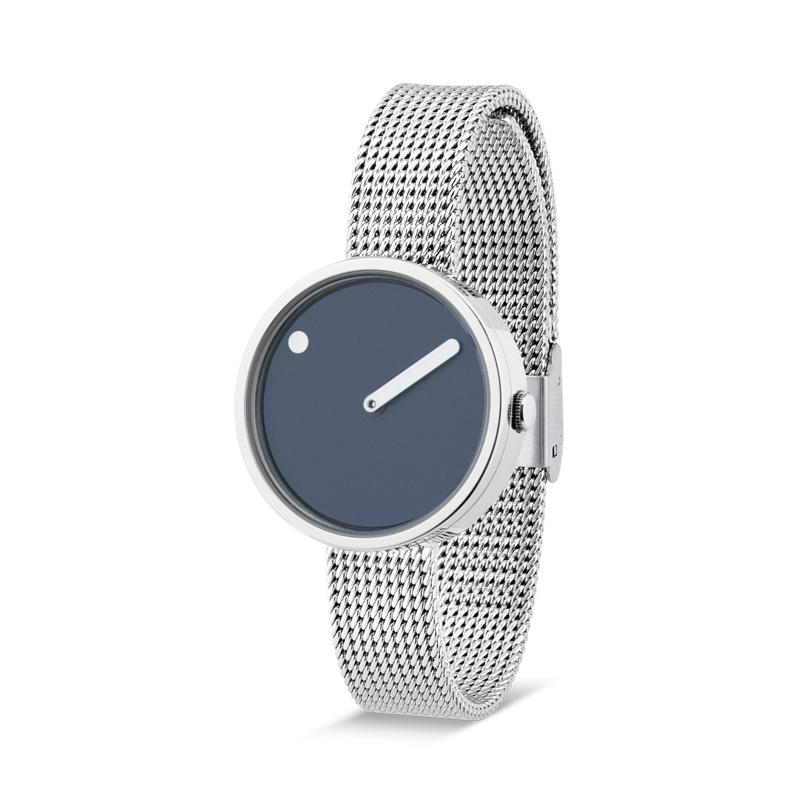 PICTO armbåndsur Ø30 i blå med meshlænke