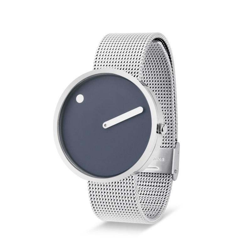 PICTO armbåndsur Ø40 i blå med meshlænke