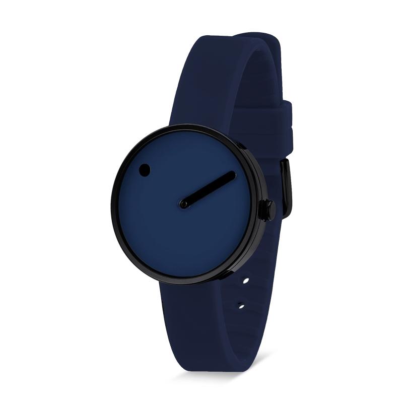 PICTO armbåndsur Ø30 i blå med blå gummirem