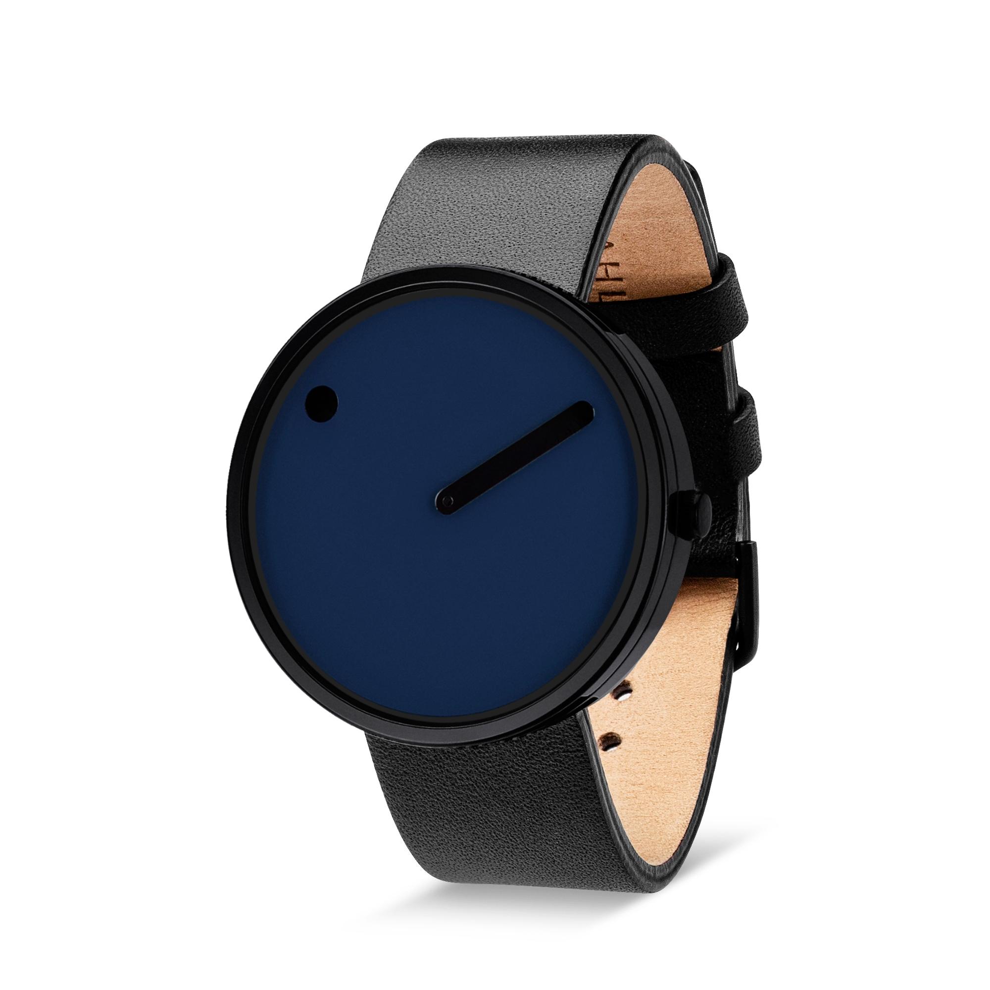 PICTO armbåndsur Ø40 i blå med sort læderrem