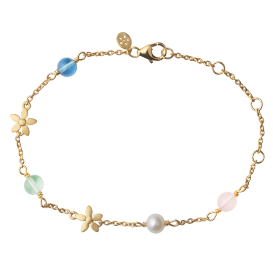 ByBiehl Posy armbånd i forgyldt sølv med krystaller og perle