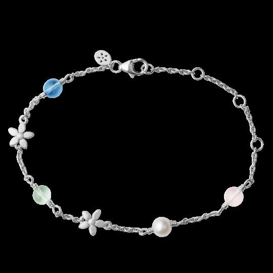 ByBiehl Posy armbånd i sølv med krystaller og perle