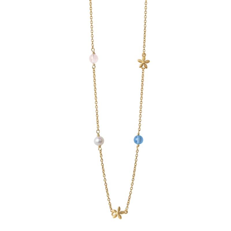 Image of   ByBiehl Posy halskæde i forgyldt med krystaller og perler