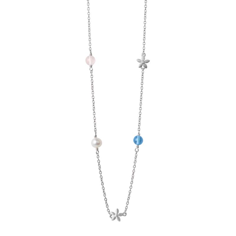 Image of   ByBiehl Posy halskæde i sølv med krystaller og perler