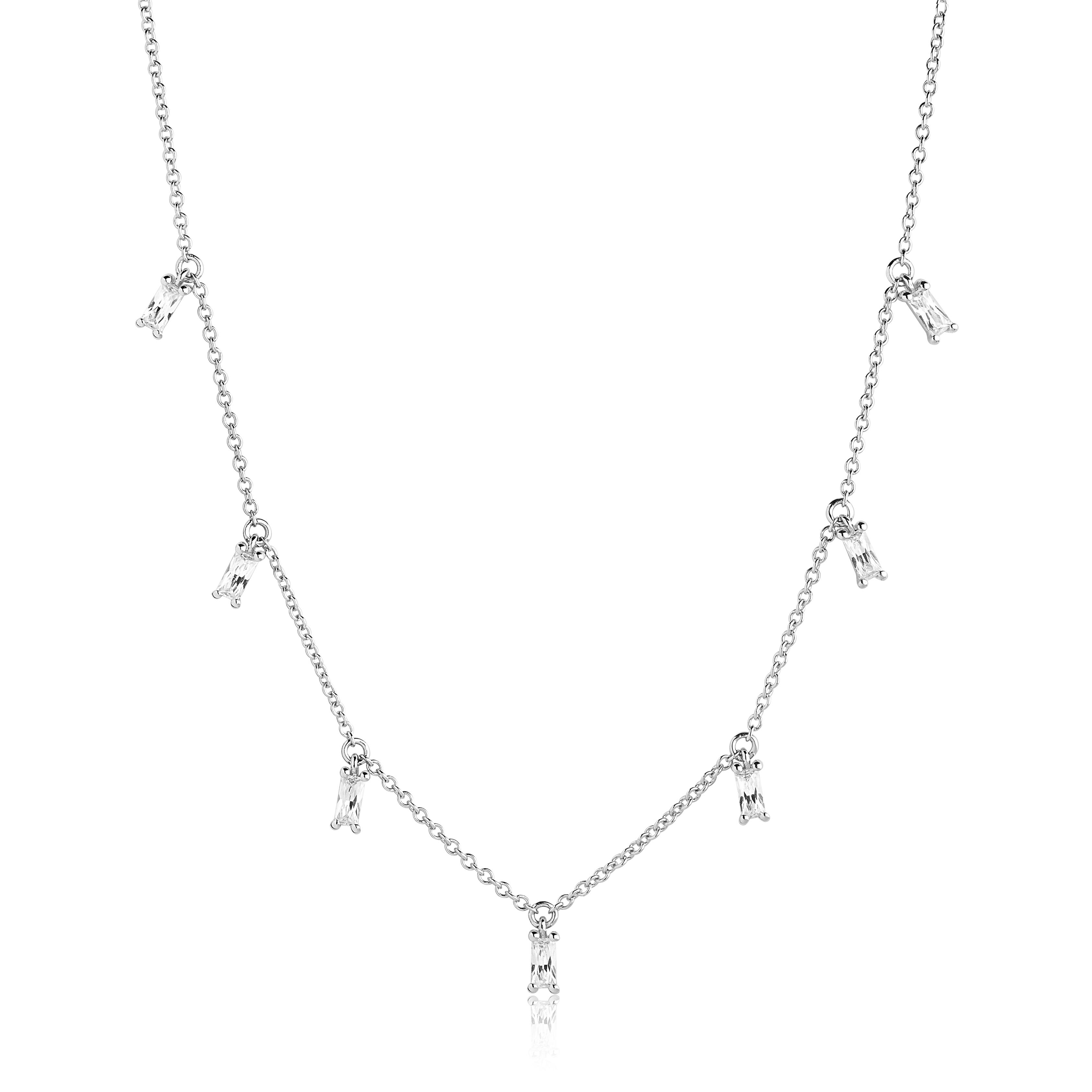Image of   Sif Jakobs Princess Baguette halssmykke i sølv med cz