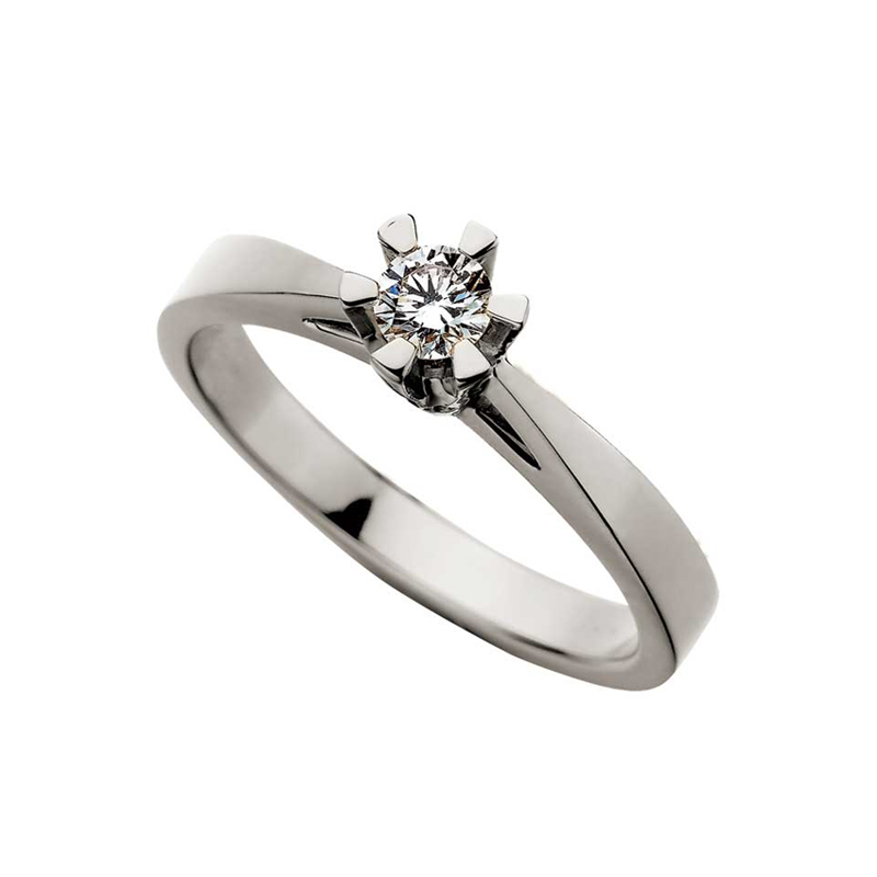Prinsesse ring 14 kt hvidguld 0,05 ct