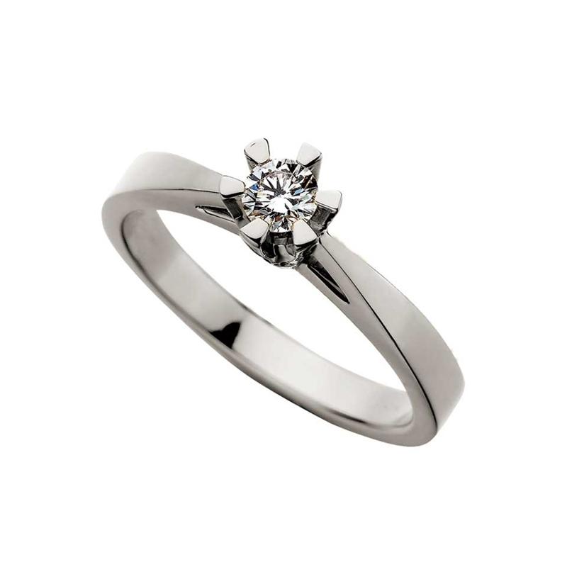Prinsesse ring 14 kt hvidguld 0,10 ct