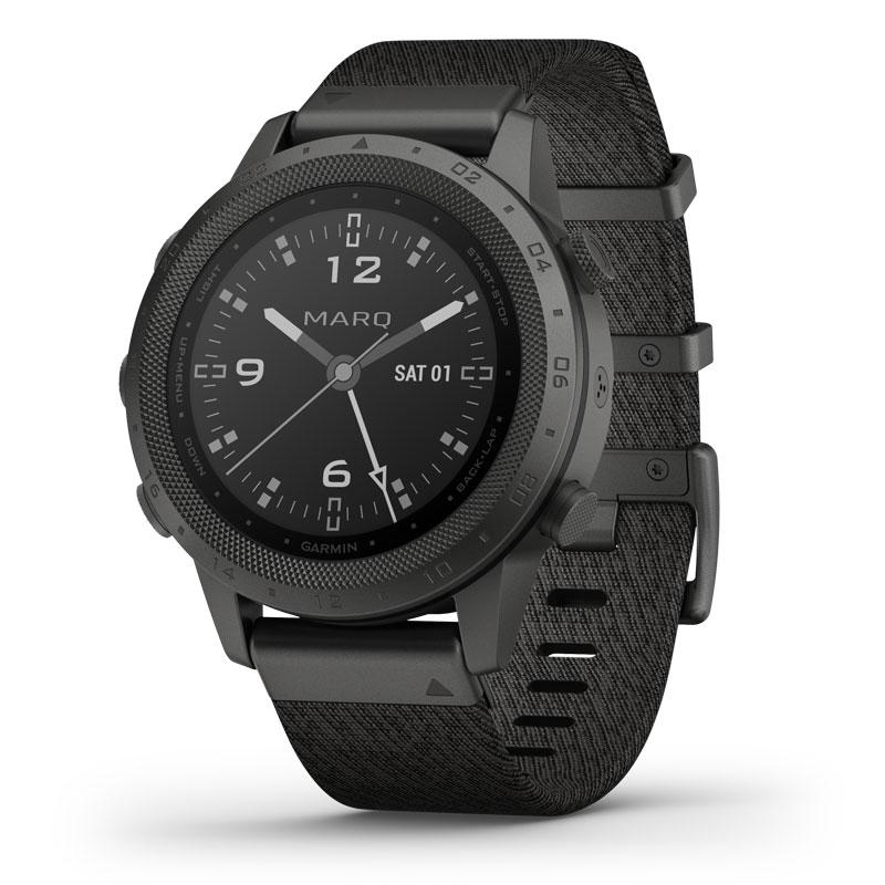 Image of   Garmin MARQ™ Commander smartwatch armbåndsur i titanium med trefarvet jacquardvævet rem