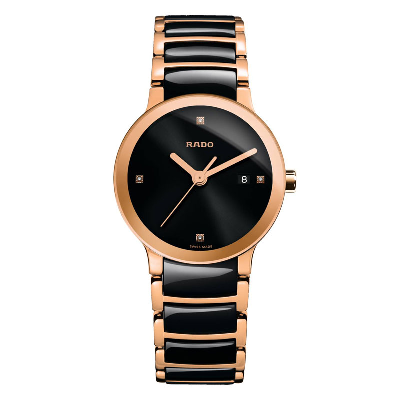 Image of   RADO Centrix Jubile dameur i sort keramik og rosa stål med diamanter