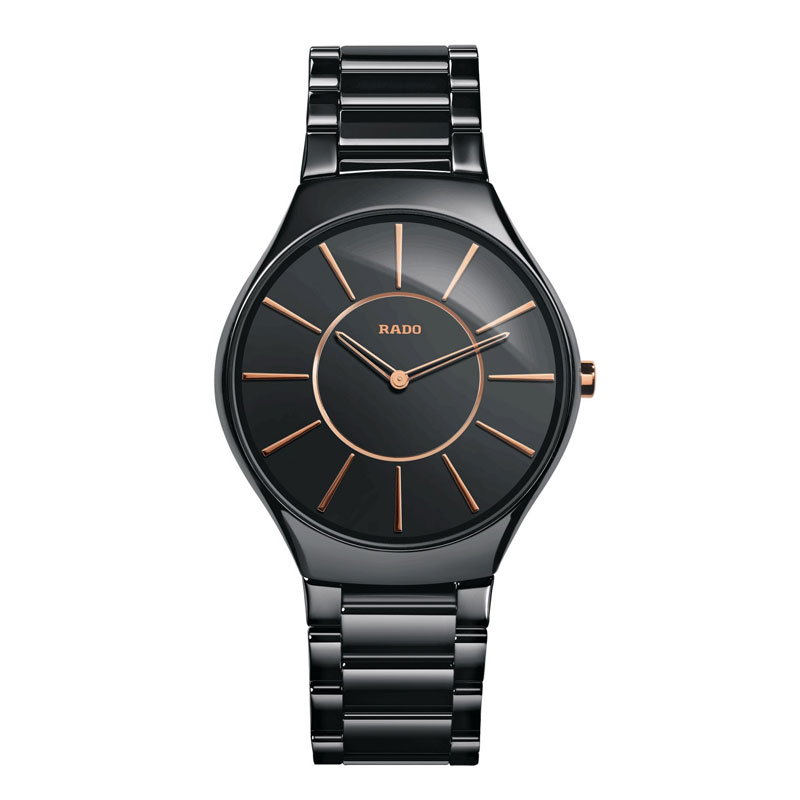 Image of   RADO True Thinline herreur i sort keramik med lænke
