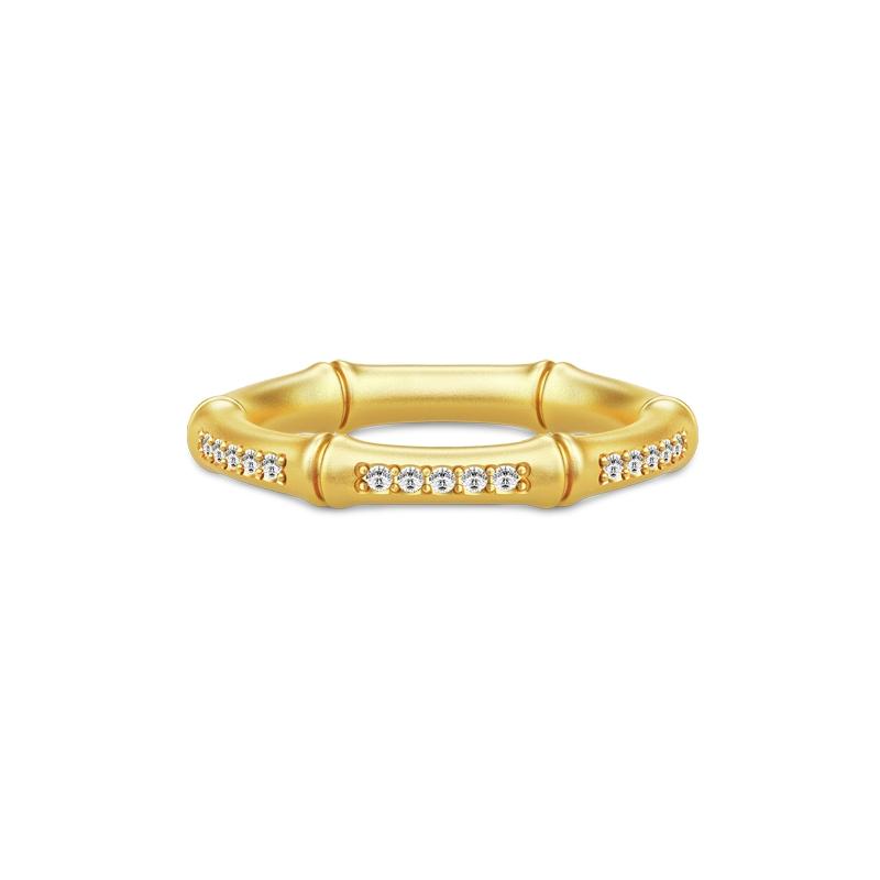 Julie Sandlau Bamboo ring i forgyldt med cubic zirkonia