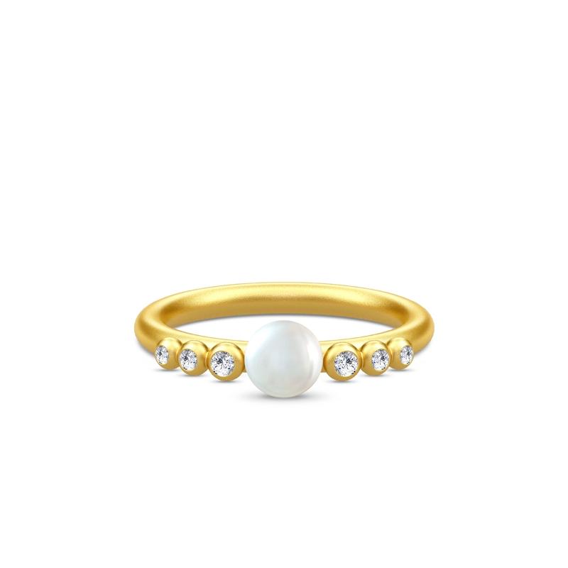 Julie Sandlau Perla ring i forgyldt med perle og zirkoner