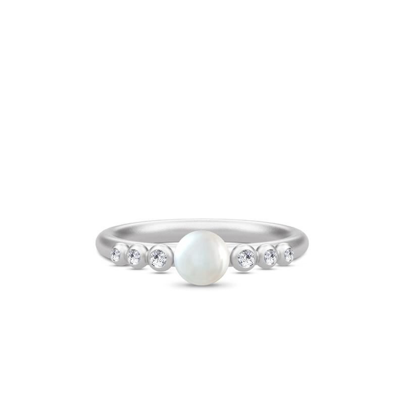 Julie Sandlau Perla ring i sølv med perle og zirkoner