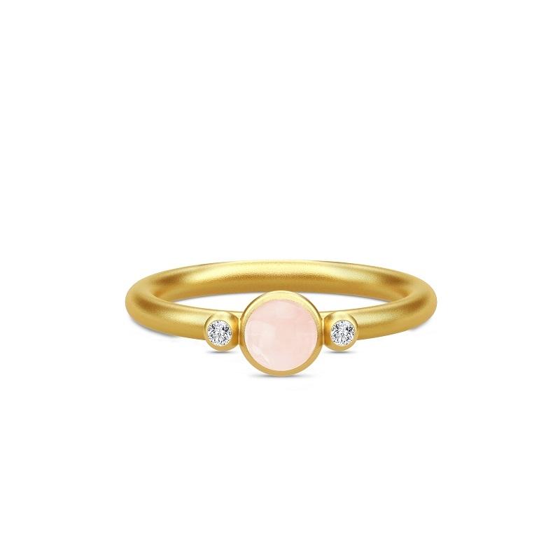 Julie Sandlau Little Prime ring i forgyldt med rosa krystal og cz