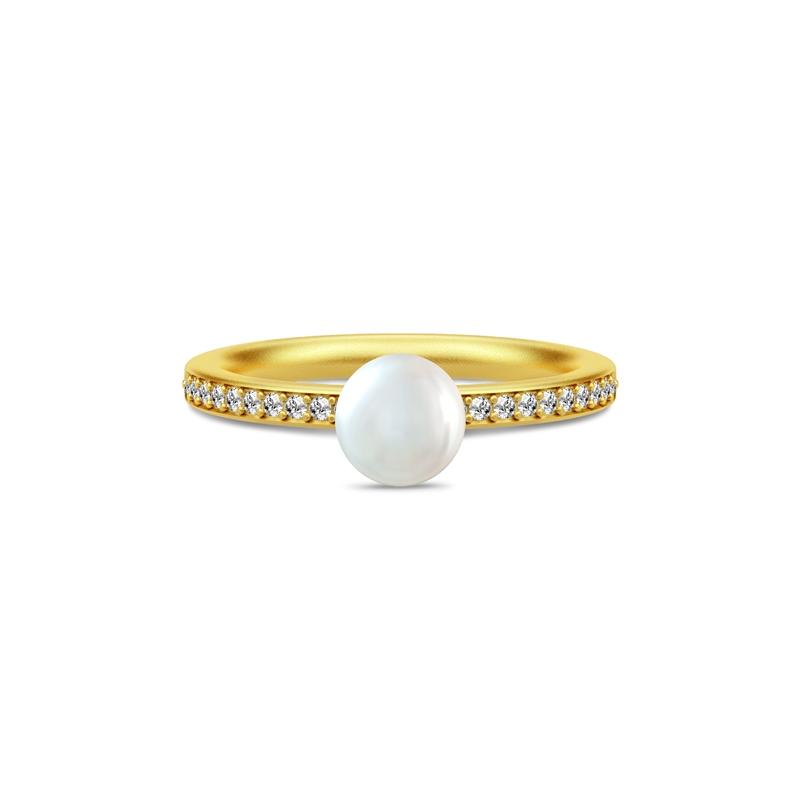 Julie Sandlau Ocean ring i forgyldt med hvid perle