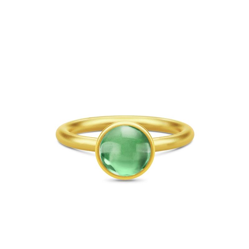 Julie Sandlau Primini forgyldt ring med grøn krystal, Ø 9 mm
