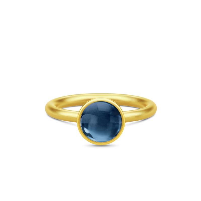 Julie Sandlau Primini forgyldt ring med safir blå krystal, Ø 9 mm str 54