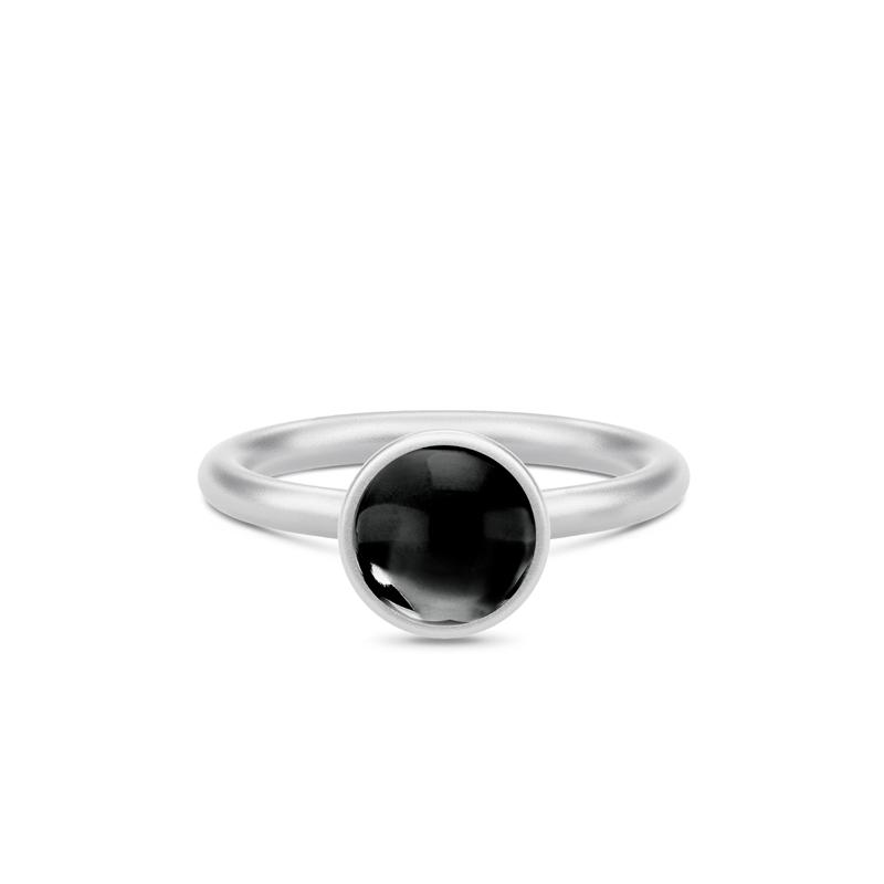Julie Sandlau Primini sølv ring med sort onyx, Ø 9 mm