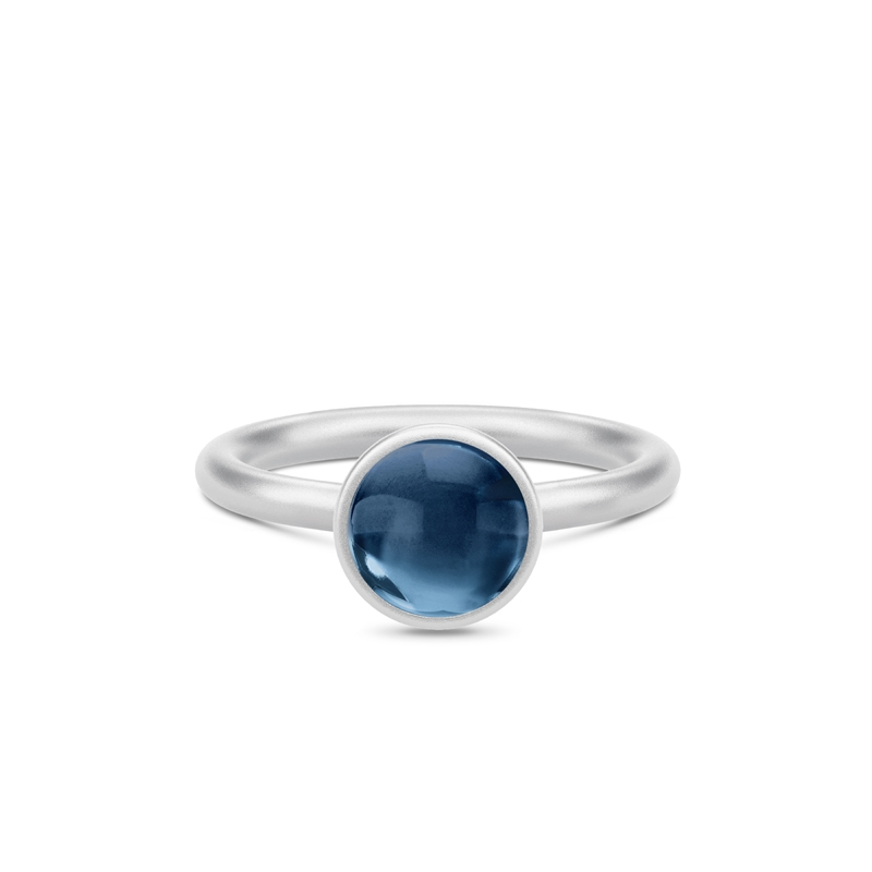 Julie Sandlau Primini sølv ring med safir blå krystal, Ø 9 mm str 50