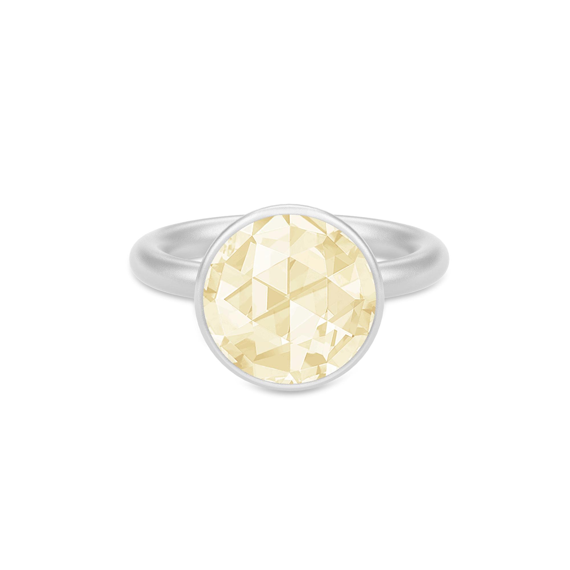 Julie Sandlau Cocktail stor sølv ring med lemon gul zirkon