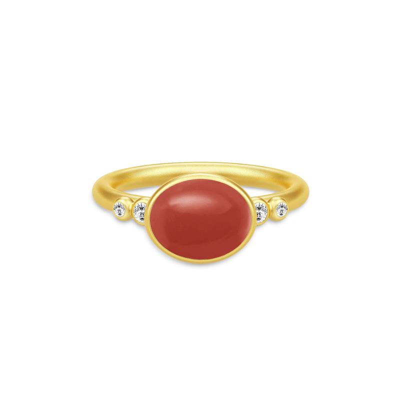 SANDLAU Poetry Ring Forgyldt/rød krystal