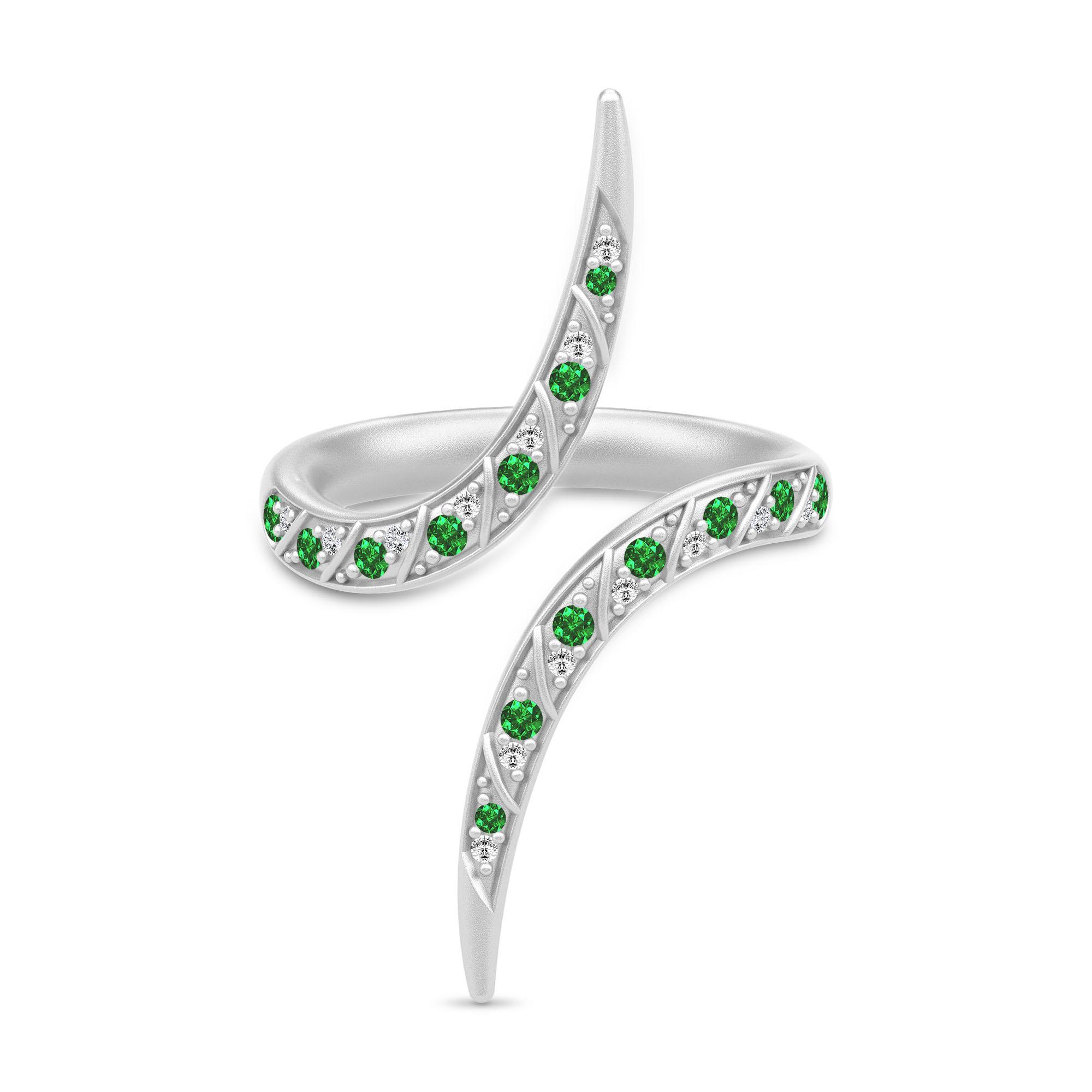 Julie Sandlau Peacock ring i sølv med grønne cz