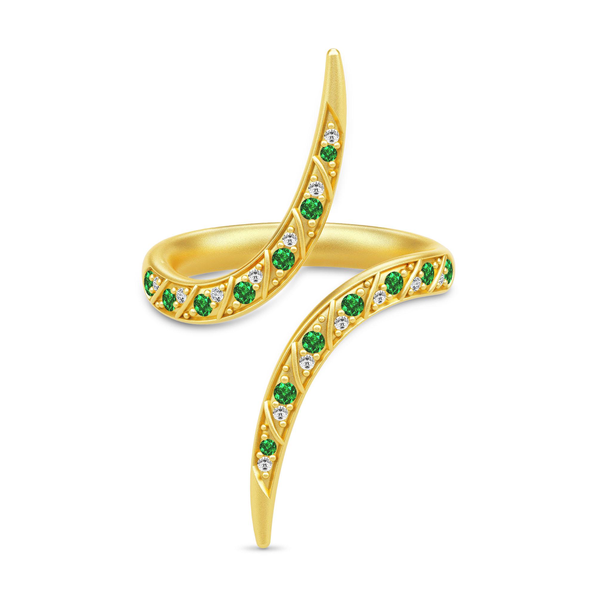Julie Sandlau Peacock ring i forgyldt med grønne cz
