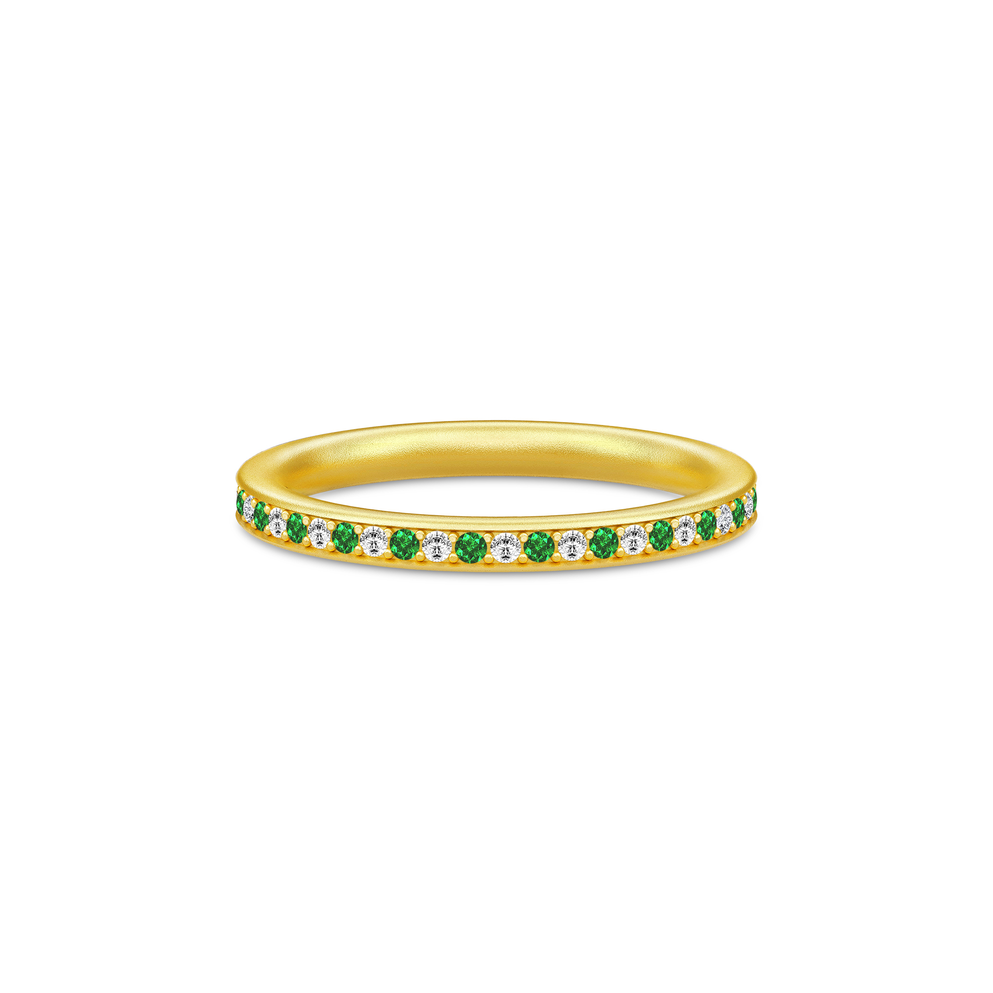 Julie Sandlau Infinity ring forgyldt med grøn cz