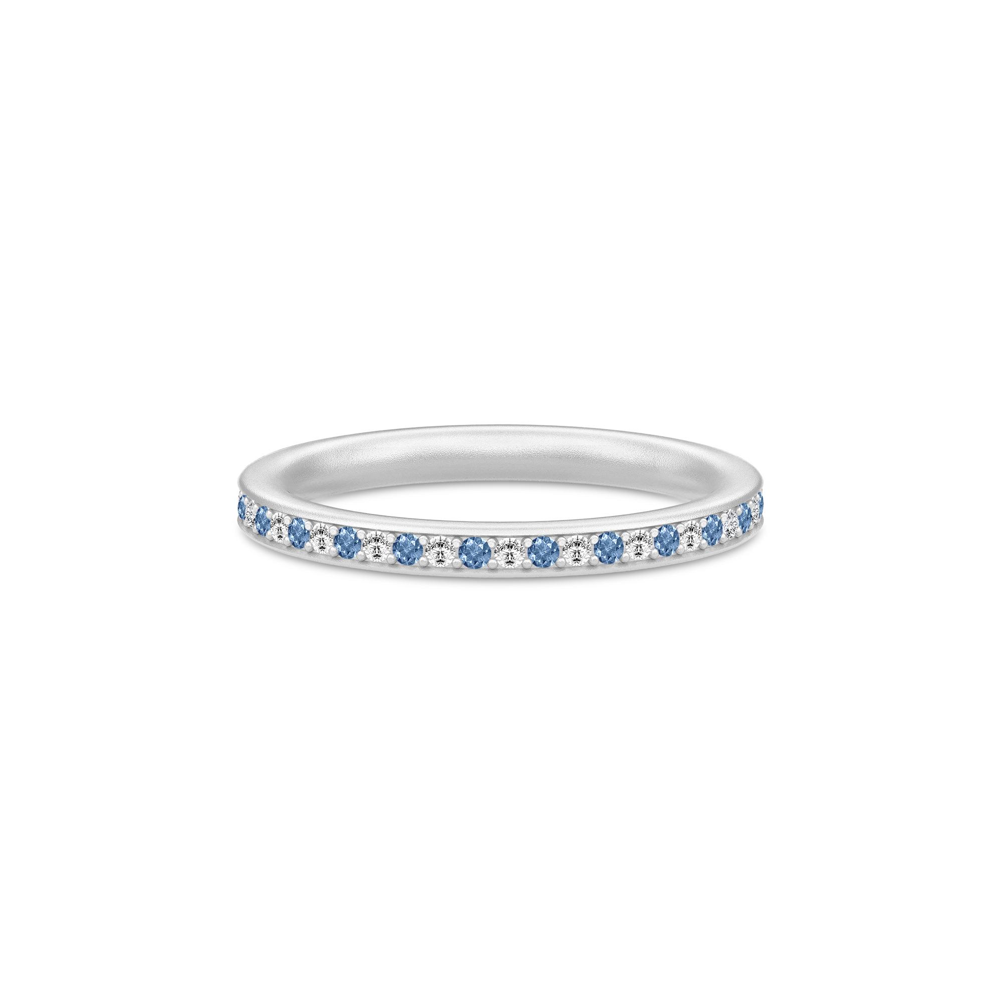 Julie Sandlau Infinity ring i sølv med blå cz
