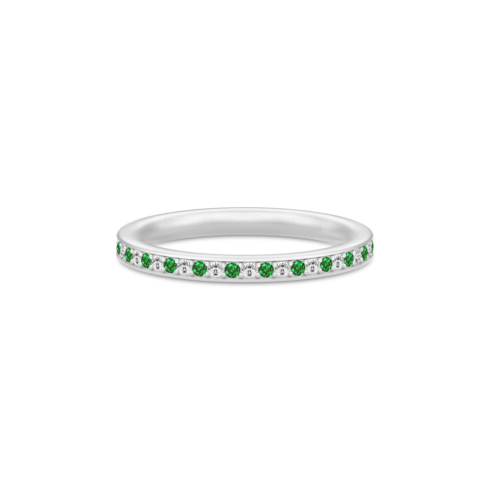 Julie Sandlau Infinity ring i sølv med grøn cz