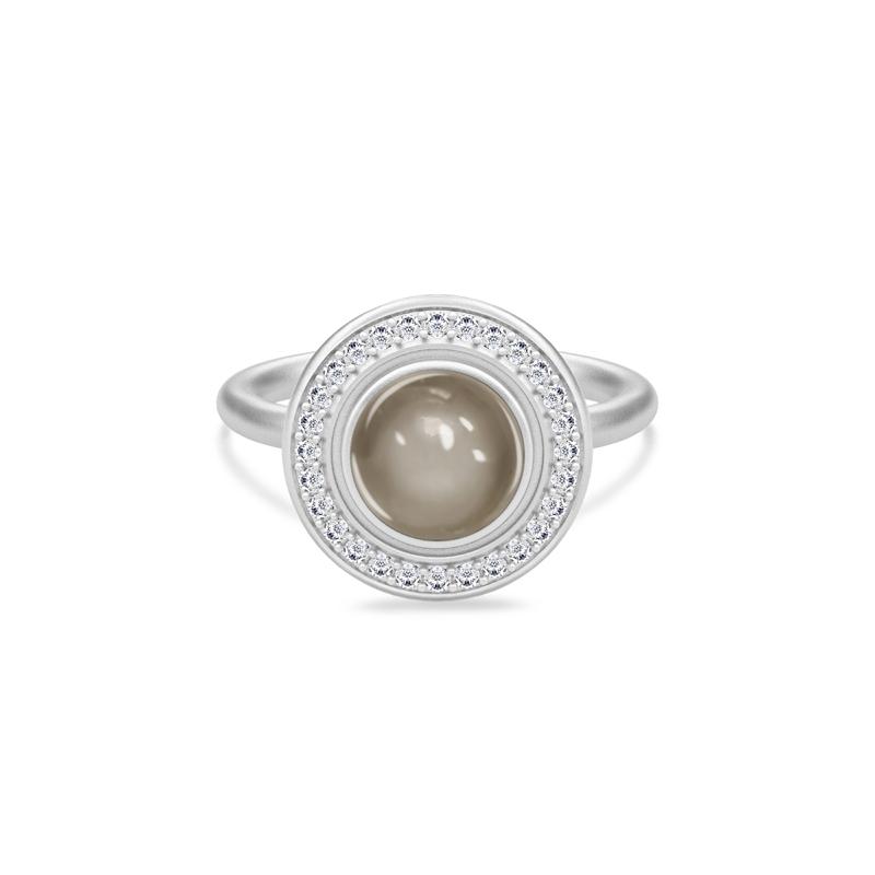 Julie Sandlau Luna ring sølv rhodineret med grå månesten str 50
