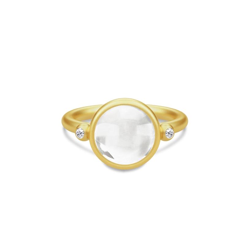 Julie Sandlau Prime ring i forgyldt med klar krystal og CZ