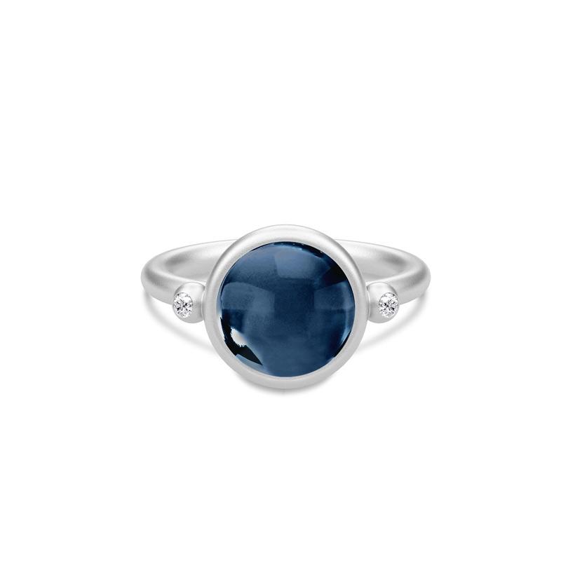 Julie Sandlau Prime ring i sølv med blå krystal og CZ