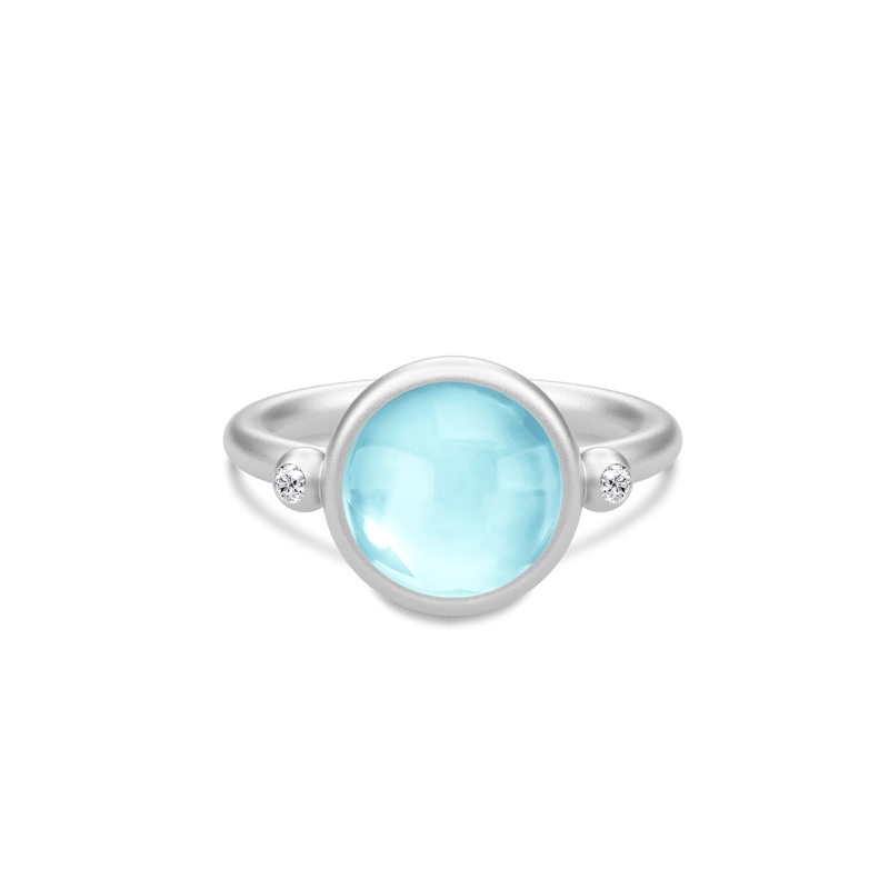 Julie Sandlau Prime ring i sølv med sky blue krystal og CZ