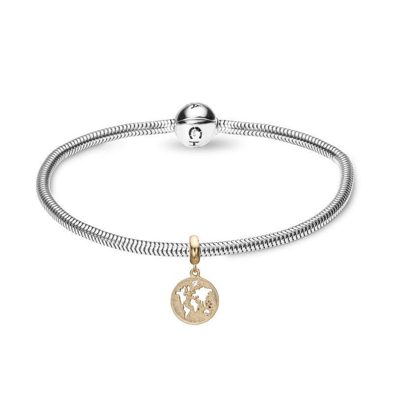 Image of   Christina Jewelry sølvarmbånd med Moder jord vedhæng i forgyldt sølv med labgrown diamant