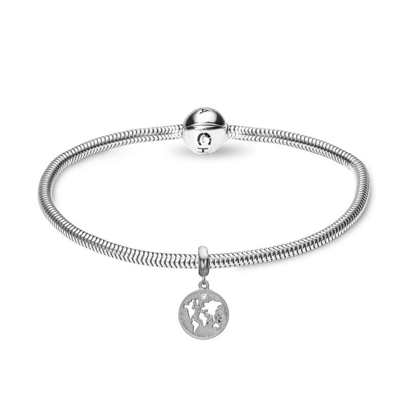 Christina Jewelry sølvarmbånd med Moder jord vedhæng i sølv med labgrown diamant 20 cm