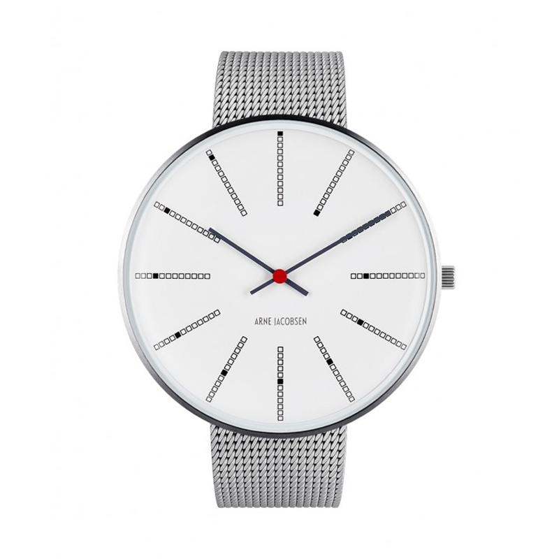 Image of   Arne Jacobsen Bankers Watch 46 mm armbåndsur i stål med hvid skive, stål mesh lænke