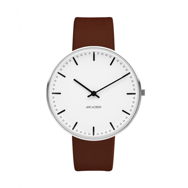 Image of   Arne Jacobsen City Hall Watch Ø40mm unisexur, med brun rem