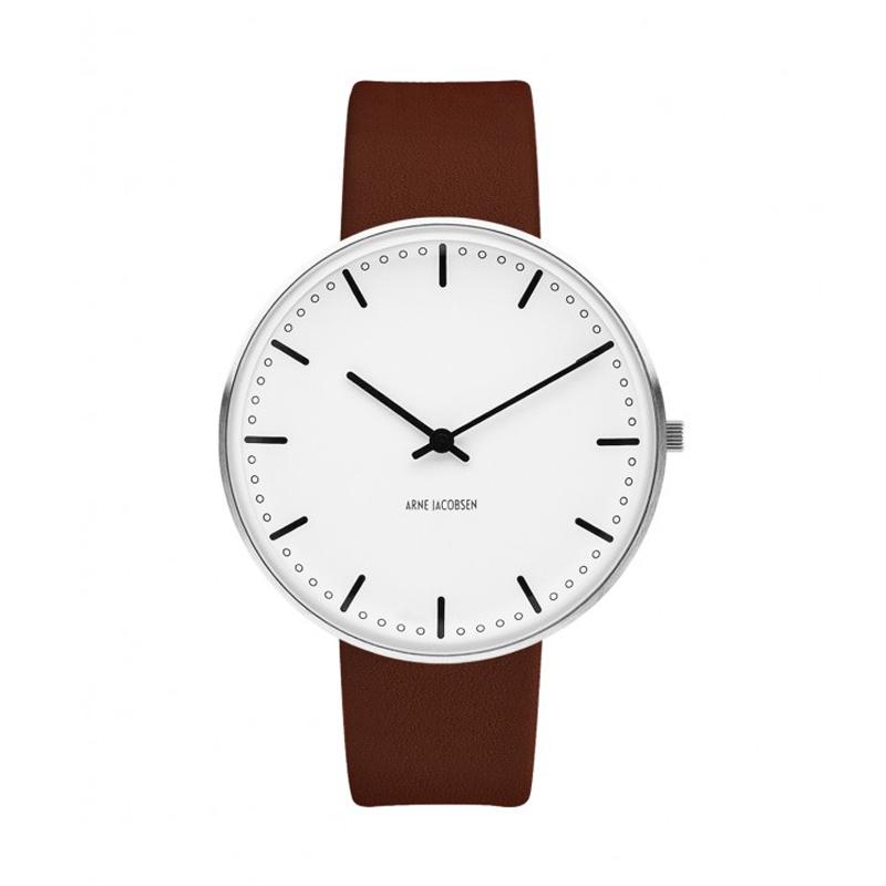 Arne Jacobsen City Hall Watch Ø40mm unisexur, med brun rem thumbnail