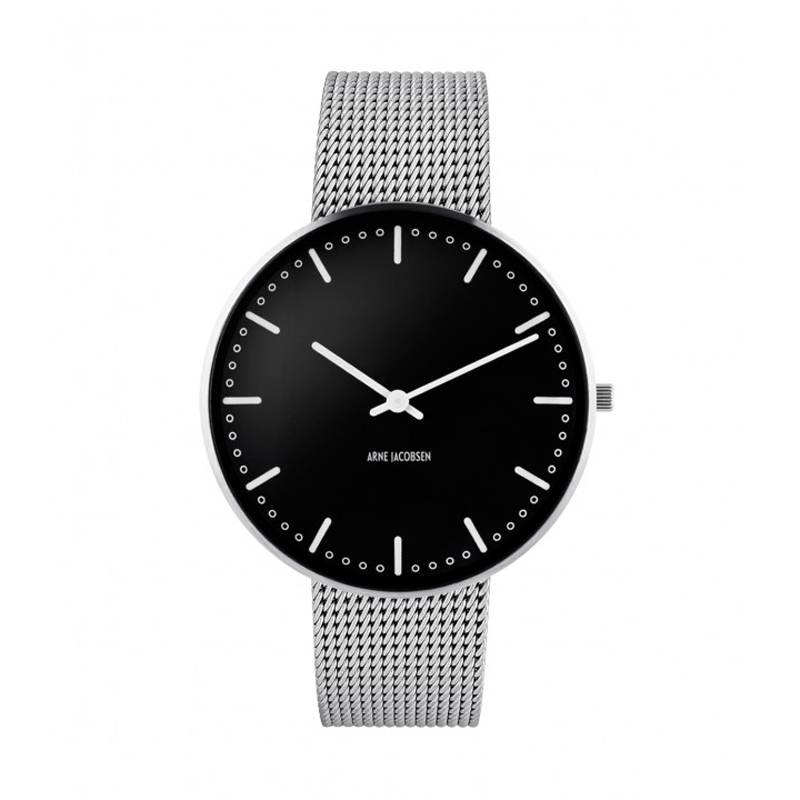 Image of   ARNE JACOBSEN CITY HALL Ø 40 MM WATCH ARMBÅNDSUR, SORT SKIVE MESH LÆNKE