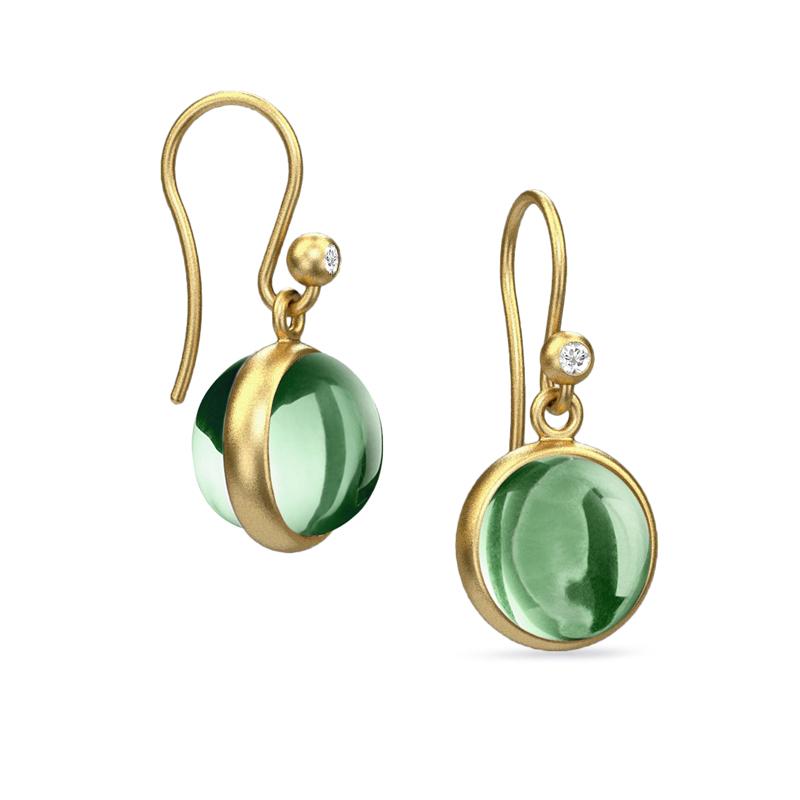 Image of   Julie Sandlau Prime ørehænger forgyldt grøn krystal og cubic zirkonia
